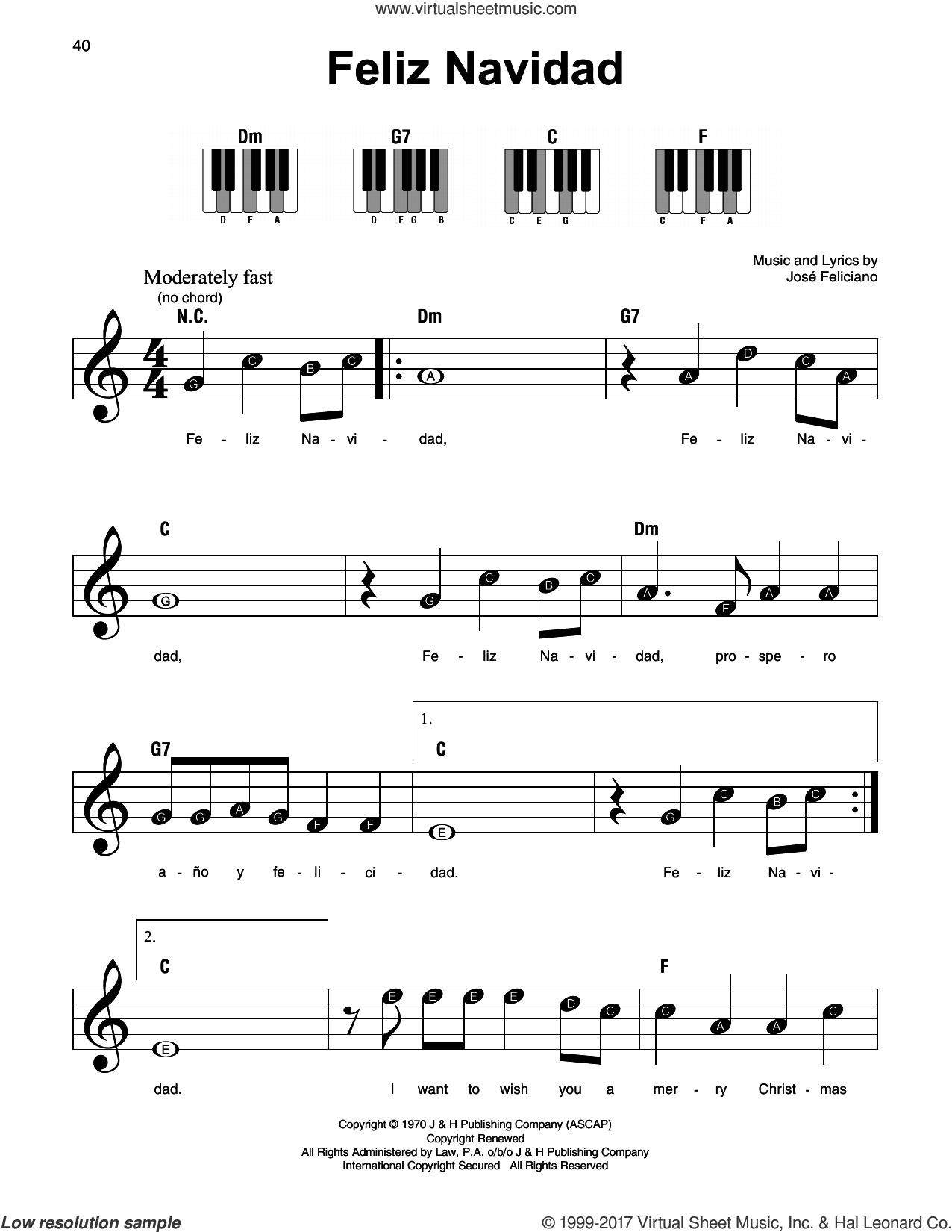 Feliciano - Feliz Navidad sheet music for piano solo v2 #pianomusic