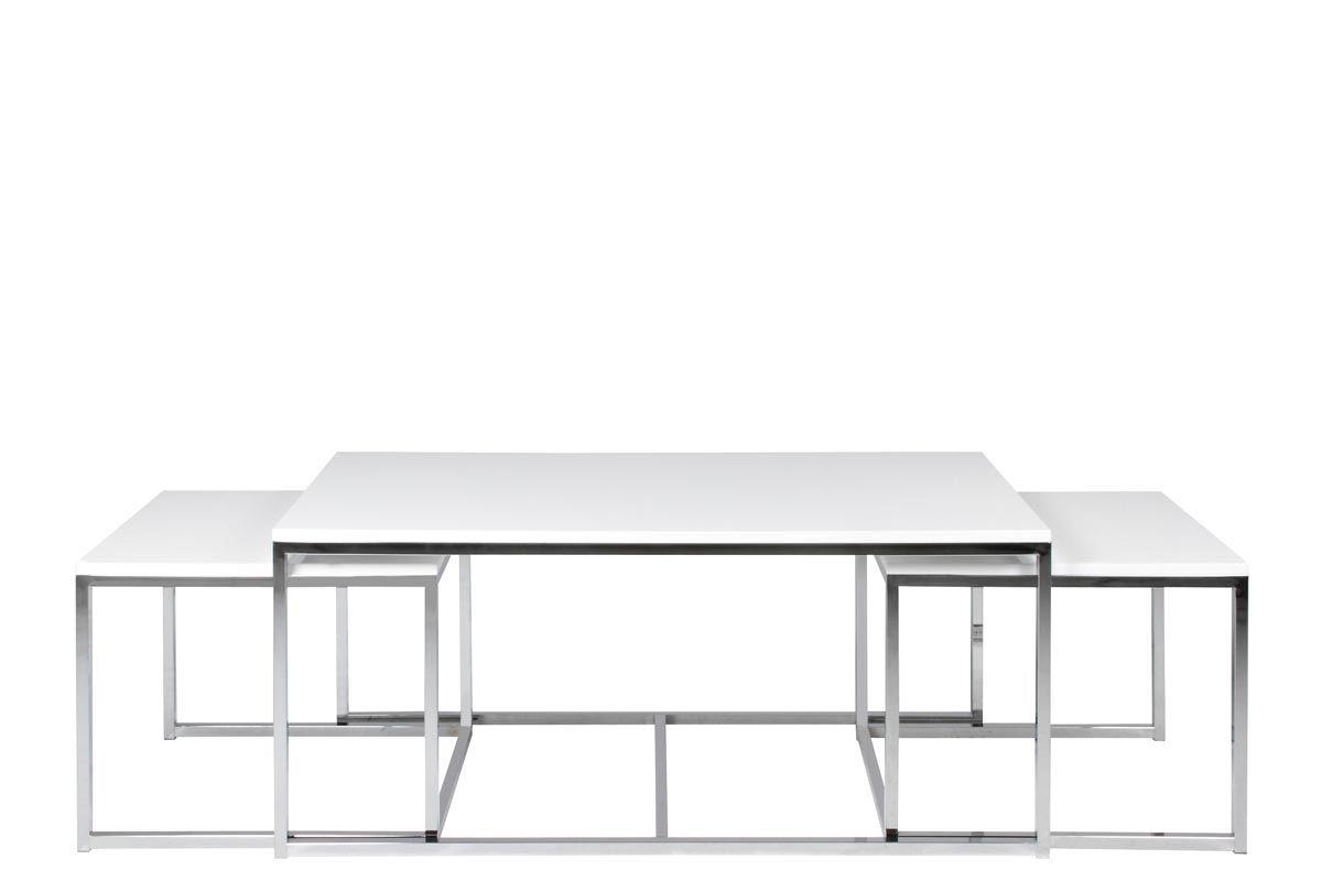 Tavolini Da Salotto Lago set di 3 tavolini design metallo bianco melha   tavolino da