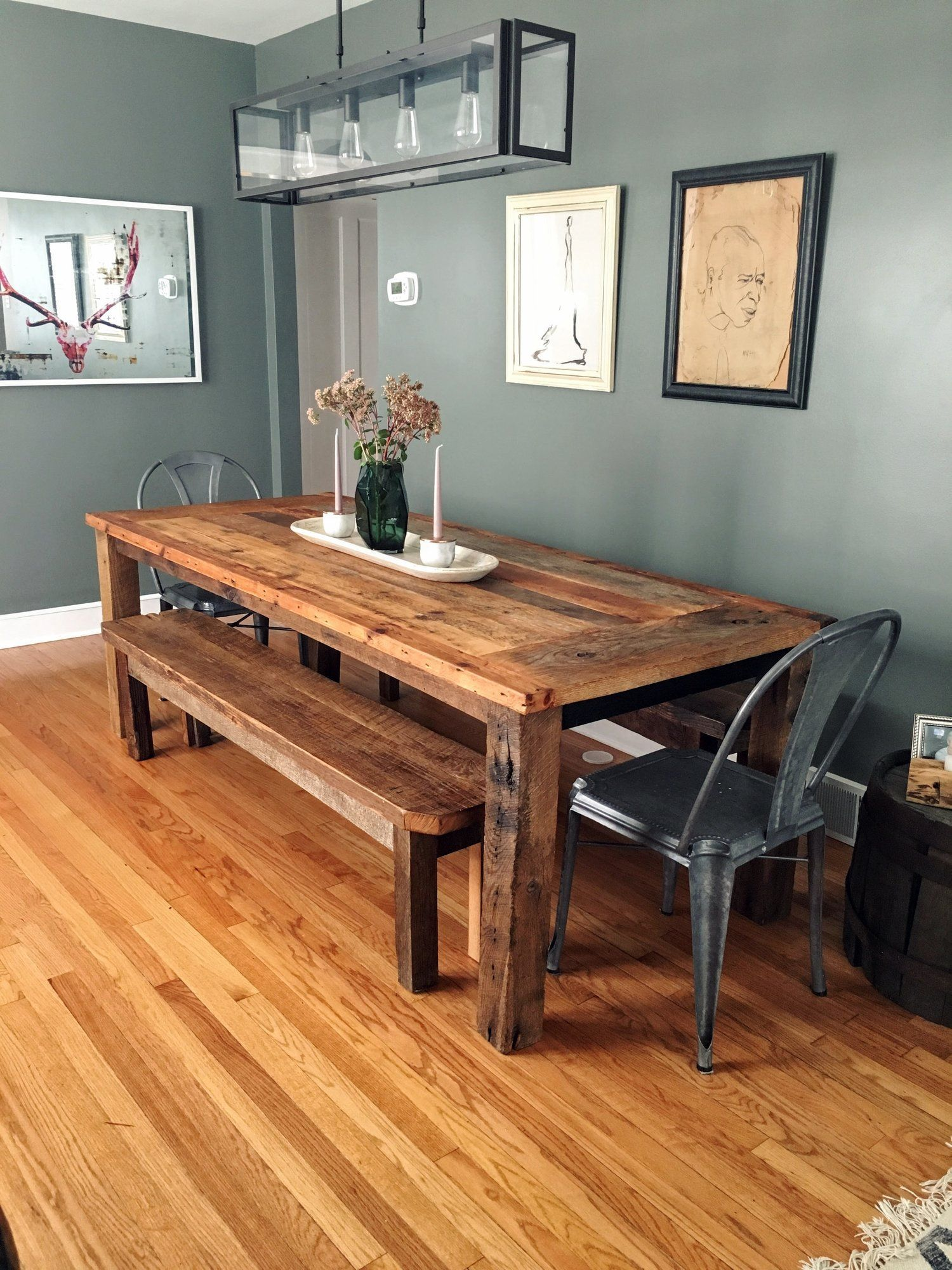 Reclaimed Wood Farmhouse Dining Table Textured Finish What We