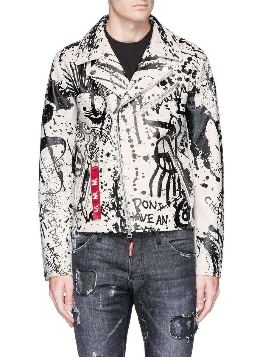 Paint Splatter Leather Biker Jacket Painted leather