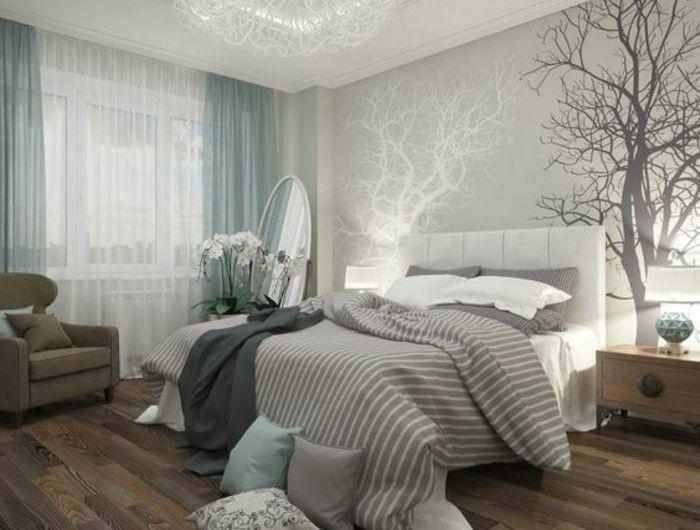 papier-peint-blanc-gris-chambre-avec-un-grand-double-lit-parquet ...