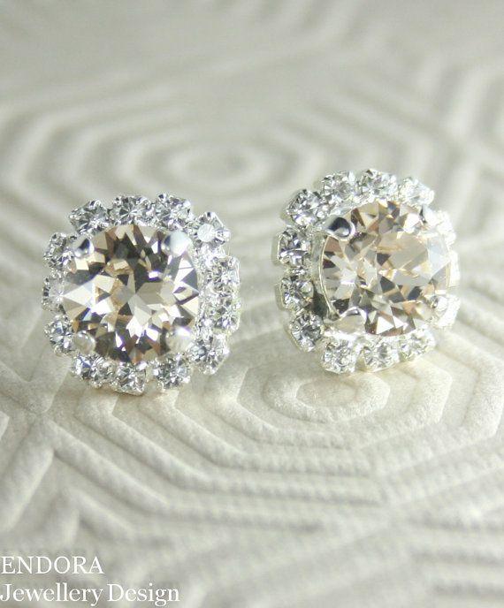 Champagne crystal earrings | Champagne wedding | Crystal stud earrings | Bridesmaid earrings | #EndoraJewellery
