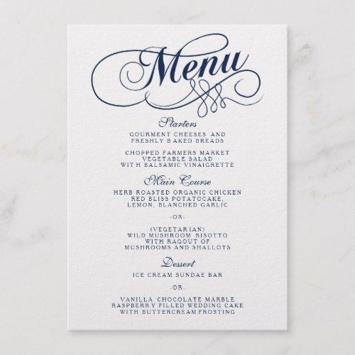 Elegant Navy Blue And White Wedding Menu Templates | Zazzle.com #weddingmenutemplate