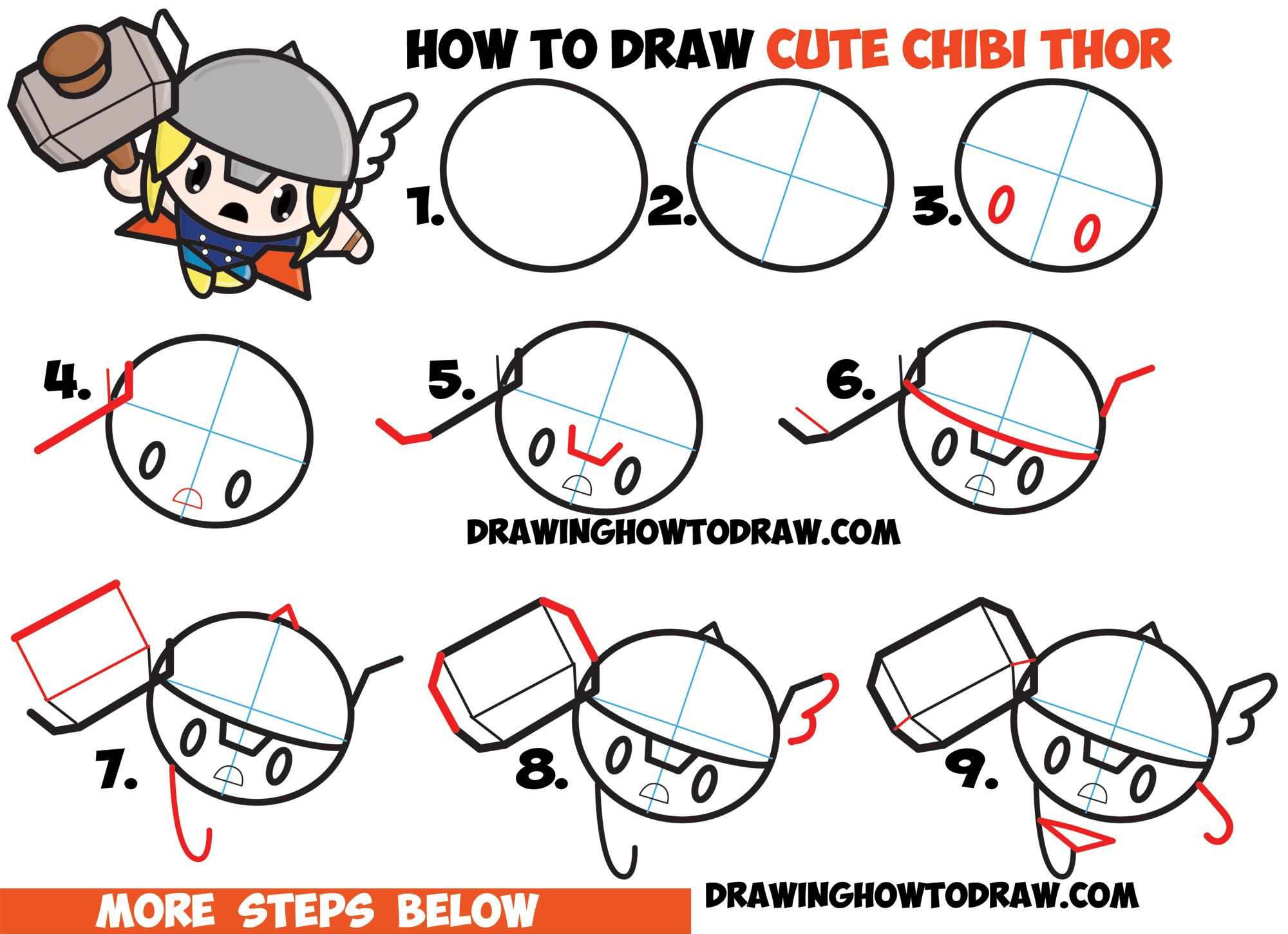 How To Draw Cute Chibi Kawaii Thor From Marvel Comics In Easy Steps Drawing Tutorial With Images Marvel Drawings Cute Drawings Drawing Superheroes