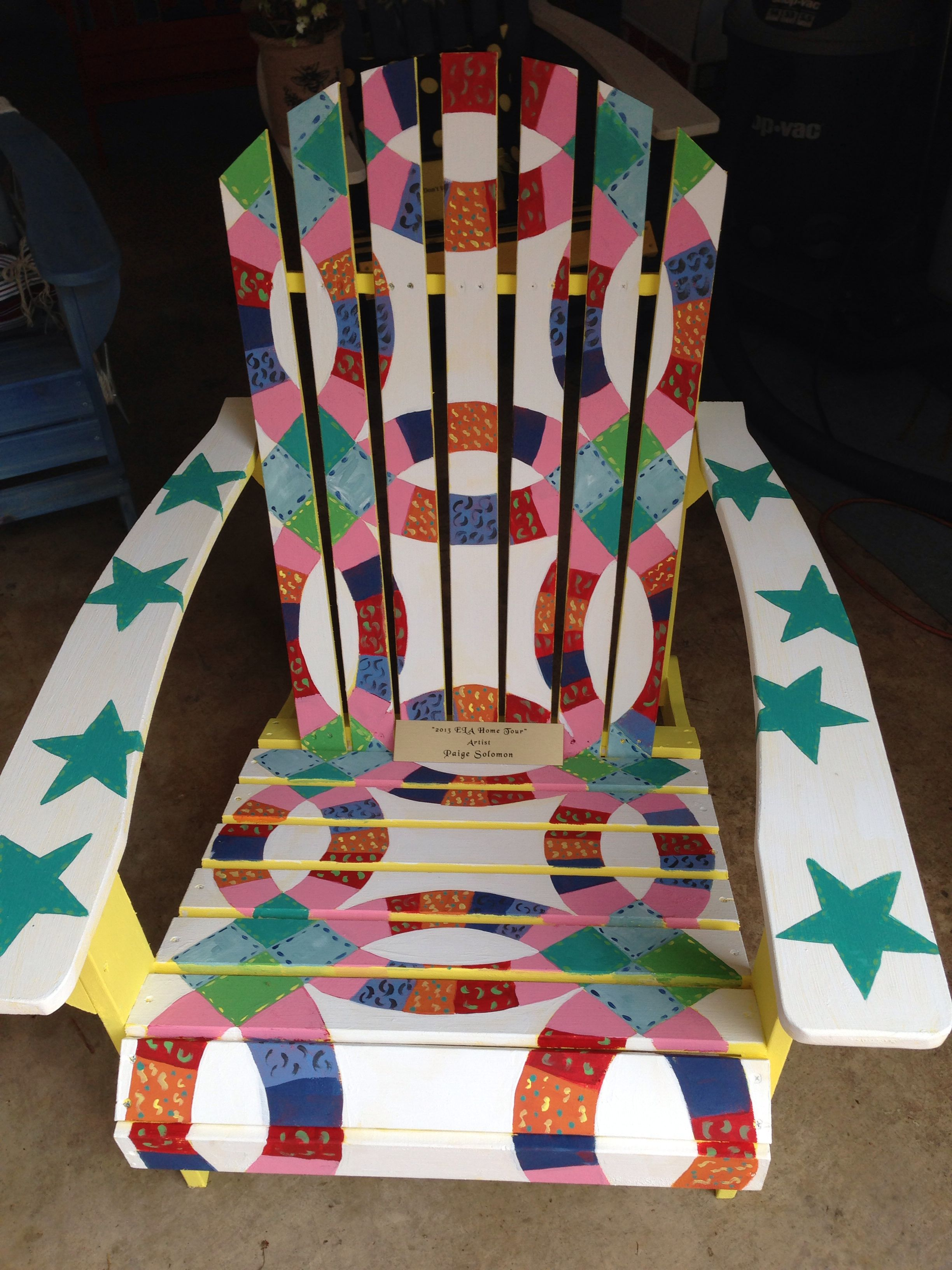 adirondack chair pattern teal accent quilt on painted with chalk