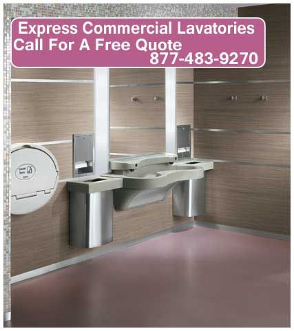 the express series by bradley features an ada and tas compliant design that can service multiple sinksstorage unitsbathroom accessorieslockerscommercial