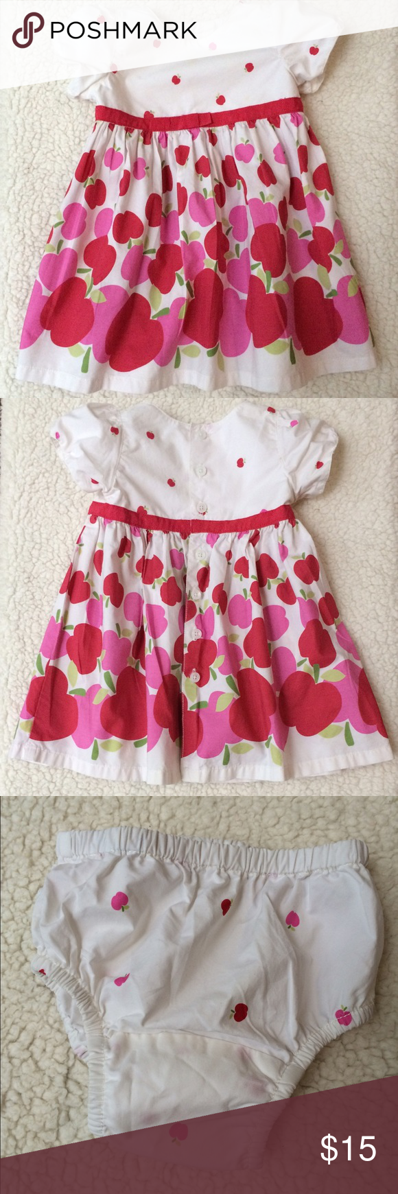 Pretty Little Apple Dress Red & Pink Apples on crisp white cotton dress, decorated with a red grosgrain ribbon bow sash! Matching Bloomers. This was my most favorite dress ever! Better to buy it before I change my mind... 🙃 Baby Gap Dresses Casual