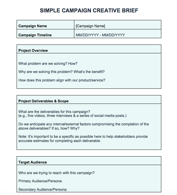 Free Creative Brief Templates Hubspot Creative Brief Template Marketing Plan Template Best Landing Pages