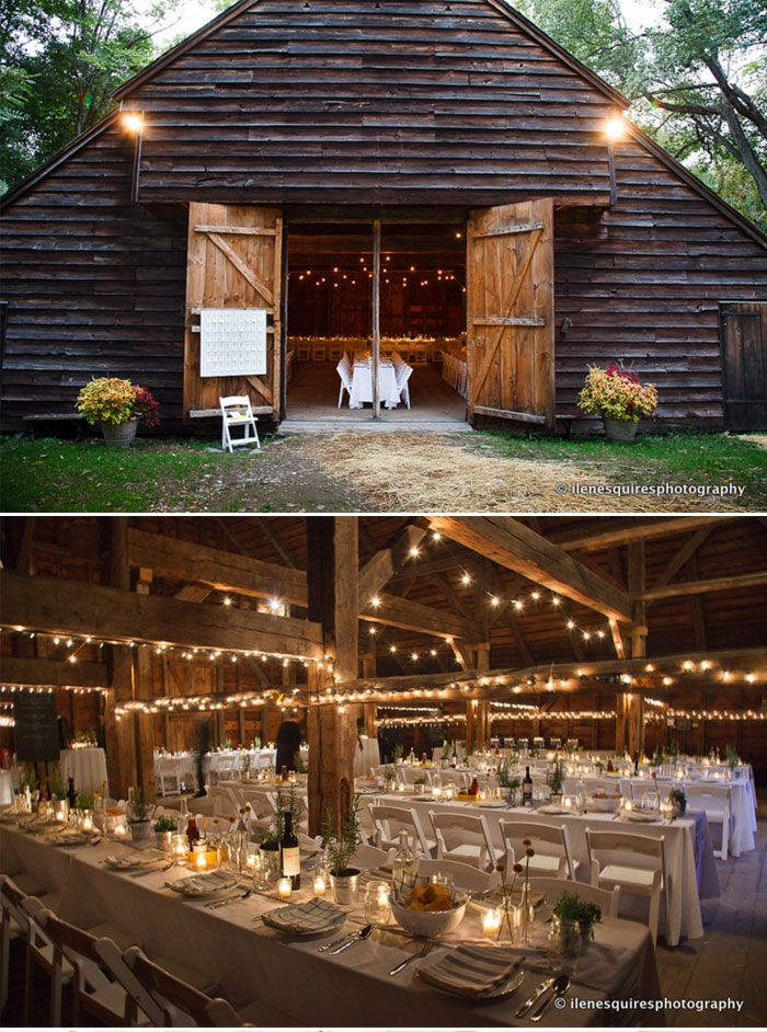 Rustic Chic Mustard Yellow and Gray Wedding - long tables