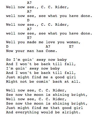 CC Rider Chords / Guitar Tab / Grateful Dead / C.C. Rider | Guitar ...