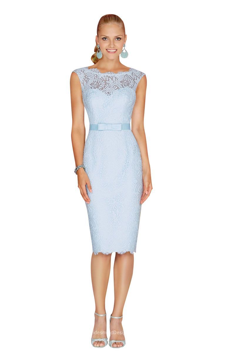 97538607efe This vintage knee length dusty blue lace bridesmaid dress is modest and  elegant. Illusion jewel neck on sleeveless bodice