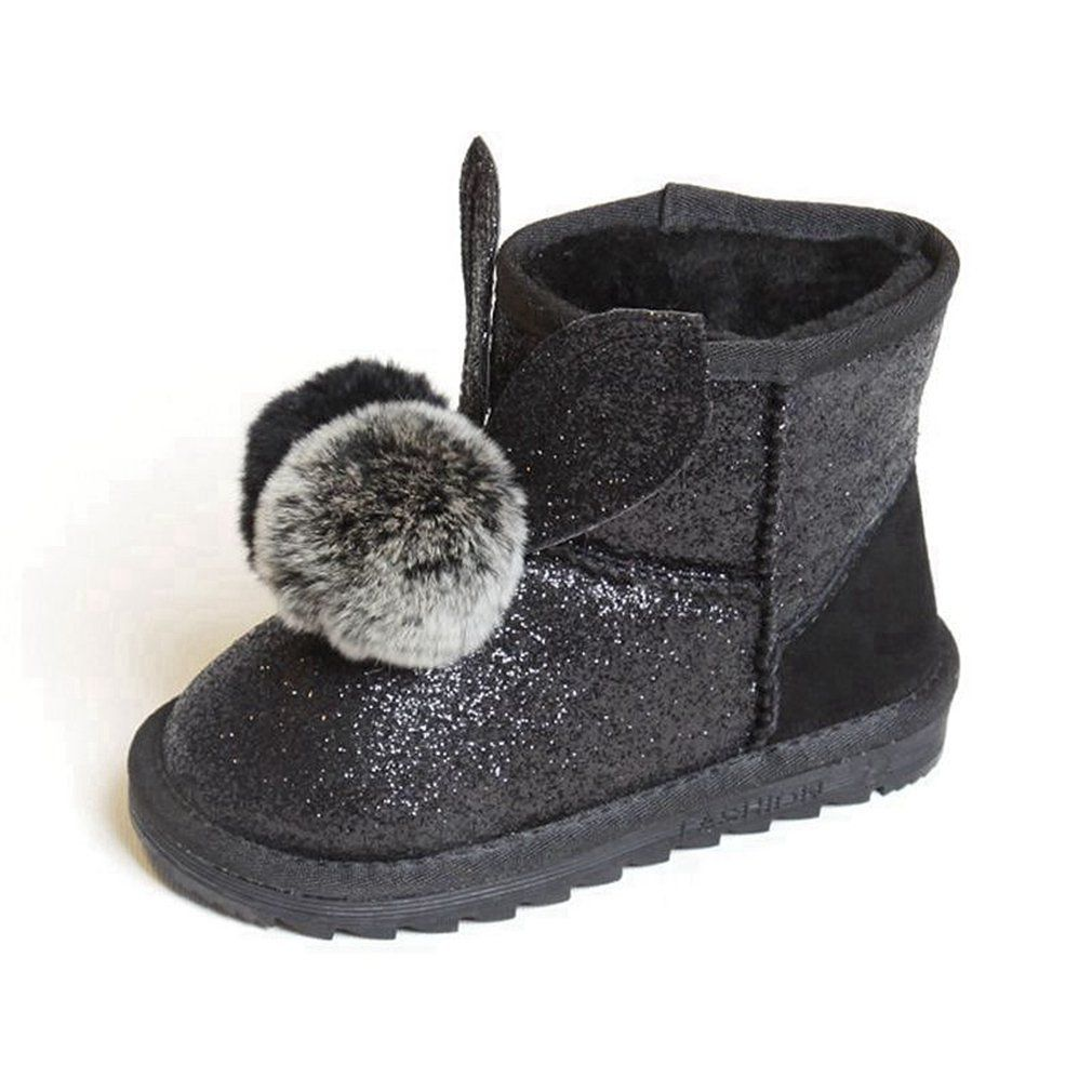 cf7d8639451 CYBLING Girls Glitter Winter Snow Boots Rabbit Fur Outdoor Pull-On Boots ( Toddler