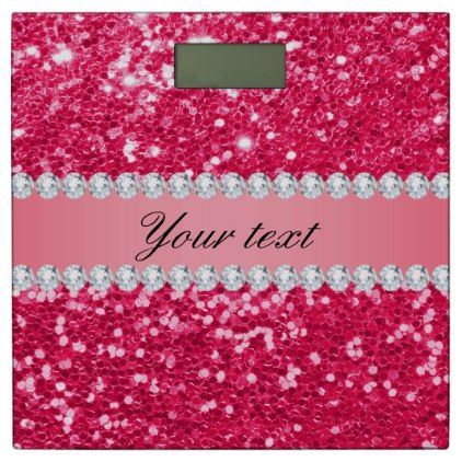 Pink Faux Glitter With Diamonds Bathroom Scale