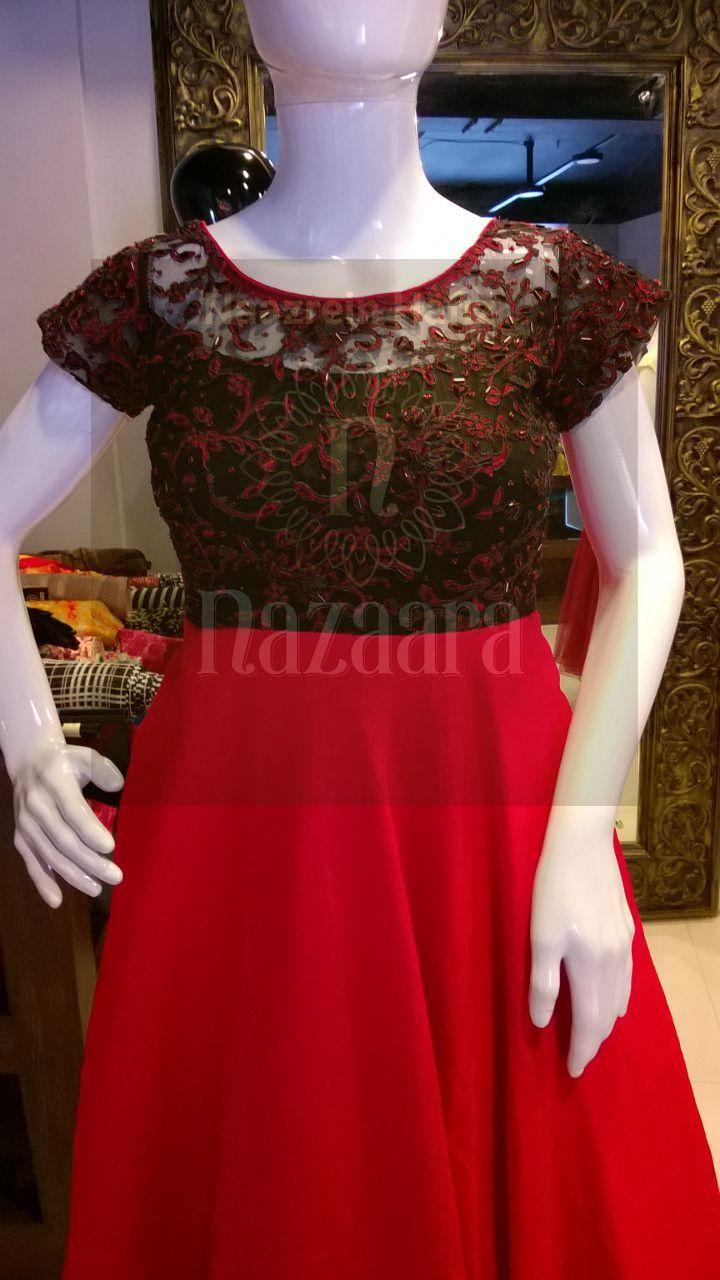 Black and red gown with handwork yoke nazaara designs offers an eye