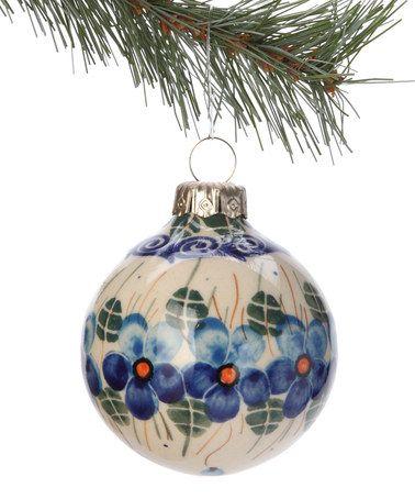Blue Fl Ornament By Lidia S Polish Pottery