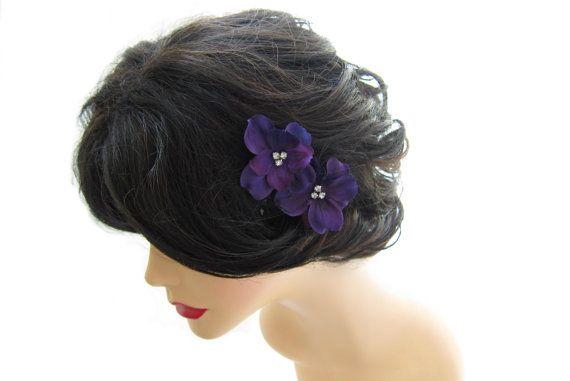 Purple Flower Hair Pin Wedding Hair Accessories by HILDASelements, $10.00