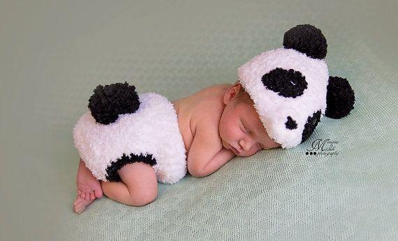 Instant Download Crochet Newborn Fuzzy Panda Hat And Diaper Cover