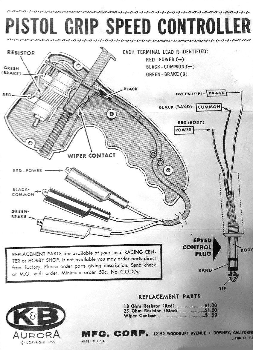 K U0026b Pistol Grip Slot Car Speed Controller Replacement Parts Diagram From 1965  Courtesy Of
