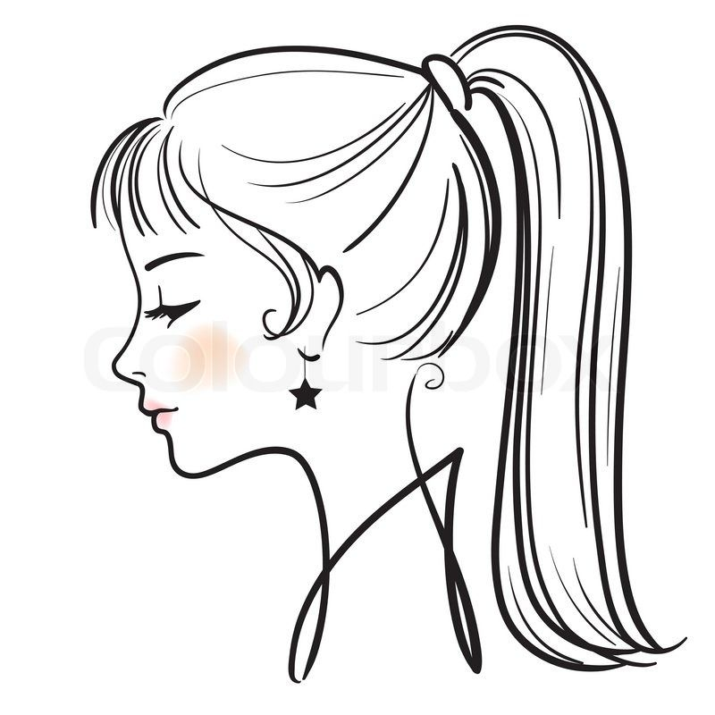 Free Line Drawing Woman Face : Cartoon girl face side view t head hair reference