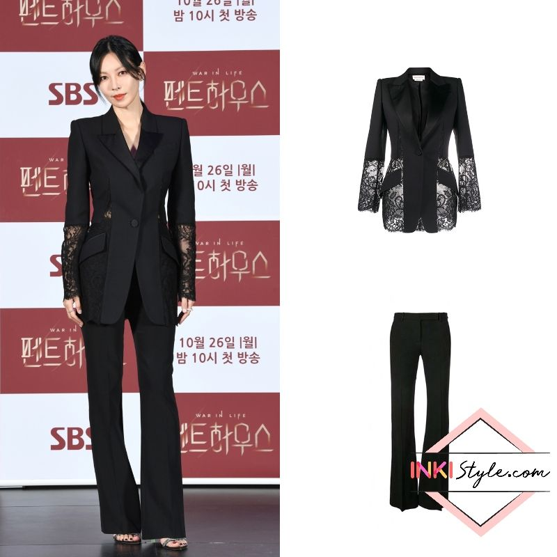 Kim So Yeon Looks Amazingly Stylish In Her Black Lace Suit At The The Penthouse Press Conference Lace Suit Black Lace Stylish