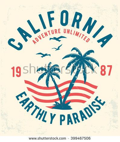 California Typography For T Shirt Print Vector Illustration Buy