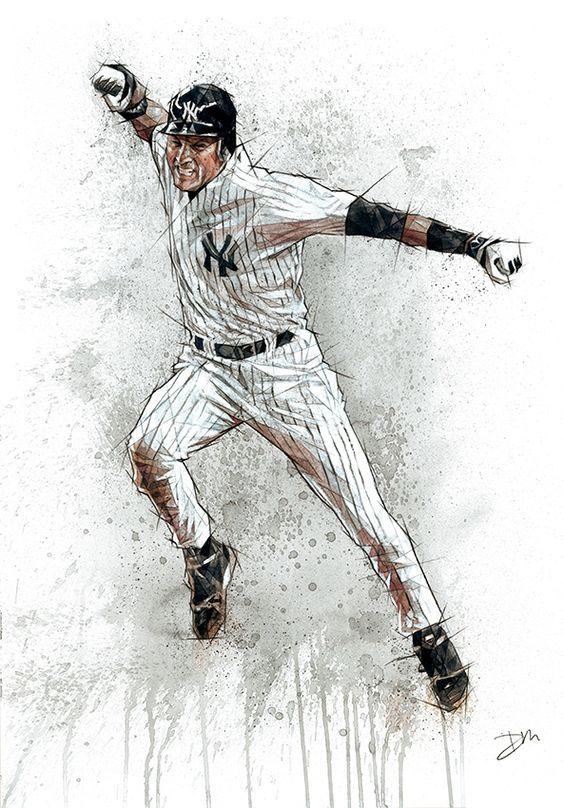 Derek Jeter Art Fotos De Beisbol Jugadores De Beisbol Bate De Beisbol