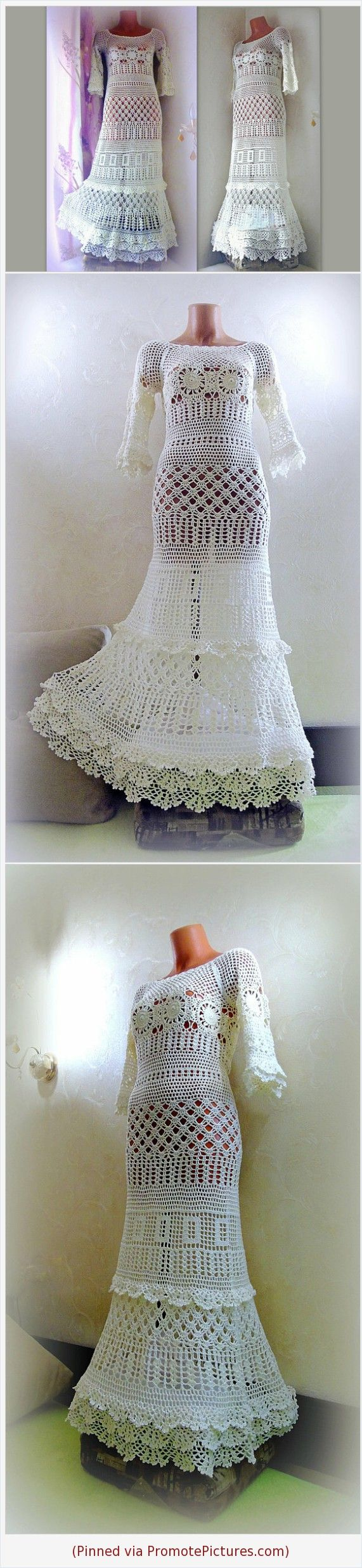 Boho chic wedding dress crochet lace ruffle bell sleeve maxi bridal