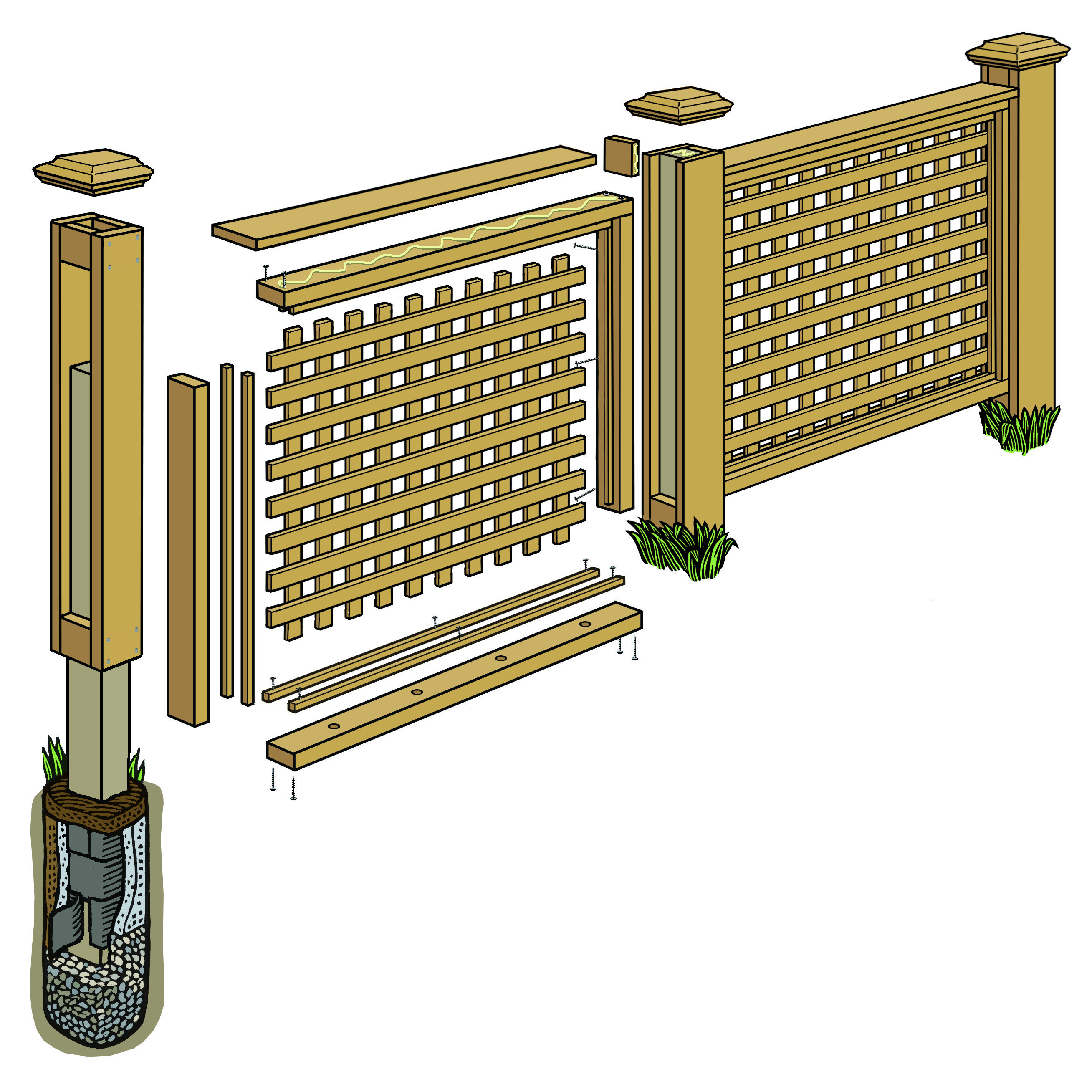 how to build a lattice panel fence