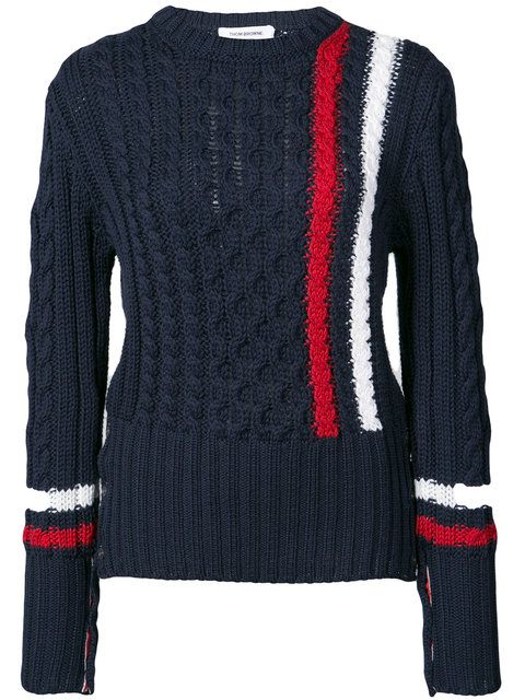 516ad2339a3a Shop Thom Browne Aran Cable Crewneck Pullover With Vertical Intarsia Stripe  In Navy Fine Merino Wool