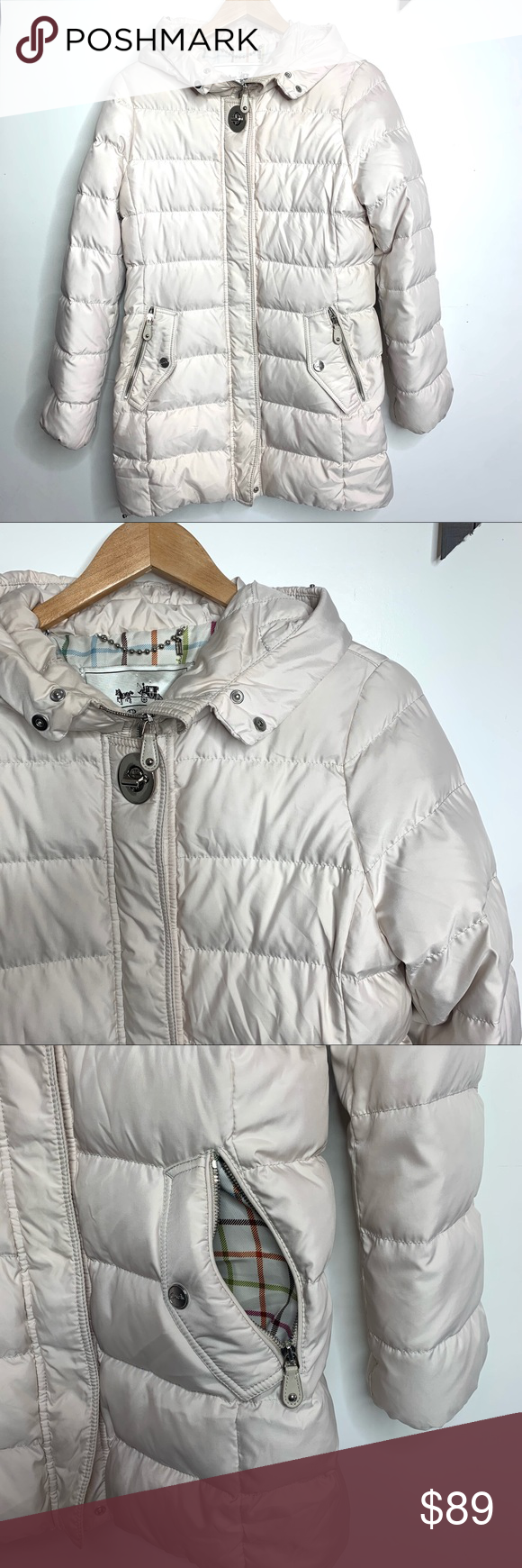 Authentic Coach Puffer Jacket White Small Hooded Jackets Puffer Jackets Clothes Design [ 1740 x 580 Pixel ]