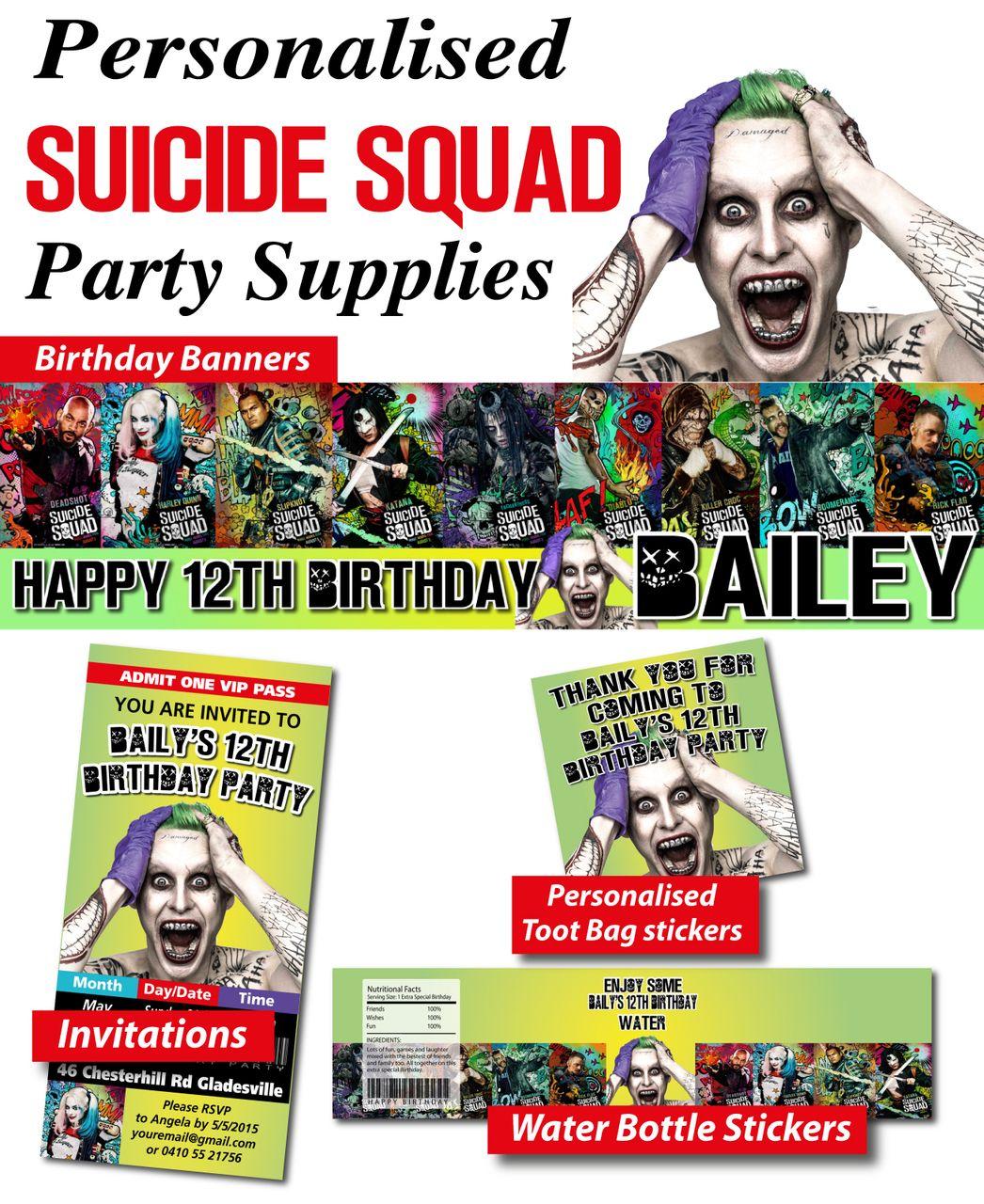 Suicide Squad Poster Invitation - DC | Suicide Squad Party Ideas ...