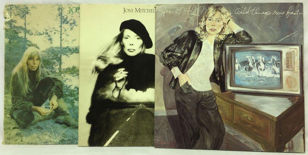 Joni Mitchell Lot Of 3 Vinyl Record Albums Hejira Wild Things