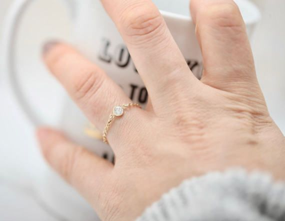 Chain Ring CZ Crystal Ring • Midi Ring • Knuckle Ring • Delicate Gold Filled Cz Ring • Sterling Silver CZ Ring • Dainty CZ Ring •Simple Ring