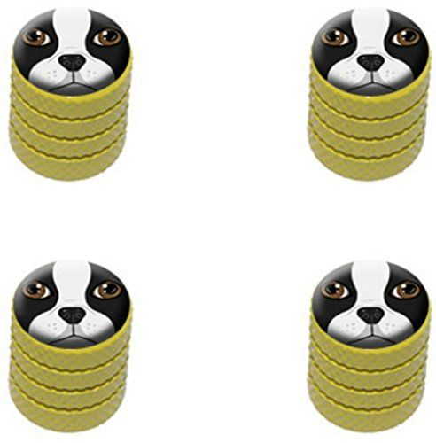 4 Count Cool And Custom Diamond Etching Boston Terrier Face Top With Easy Grip Texture Tire Wheel Rim Air Valve Ste Valve Stem Caps Dog Face Boston Terrier