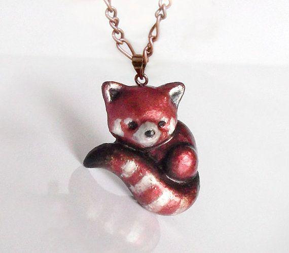 Red panda polymer clay brooch or pendant by UraniaArt