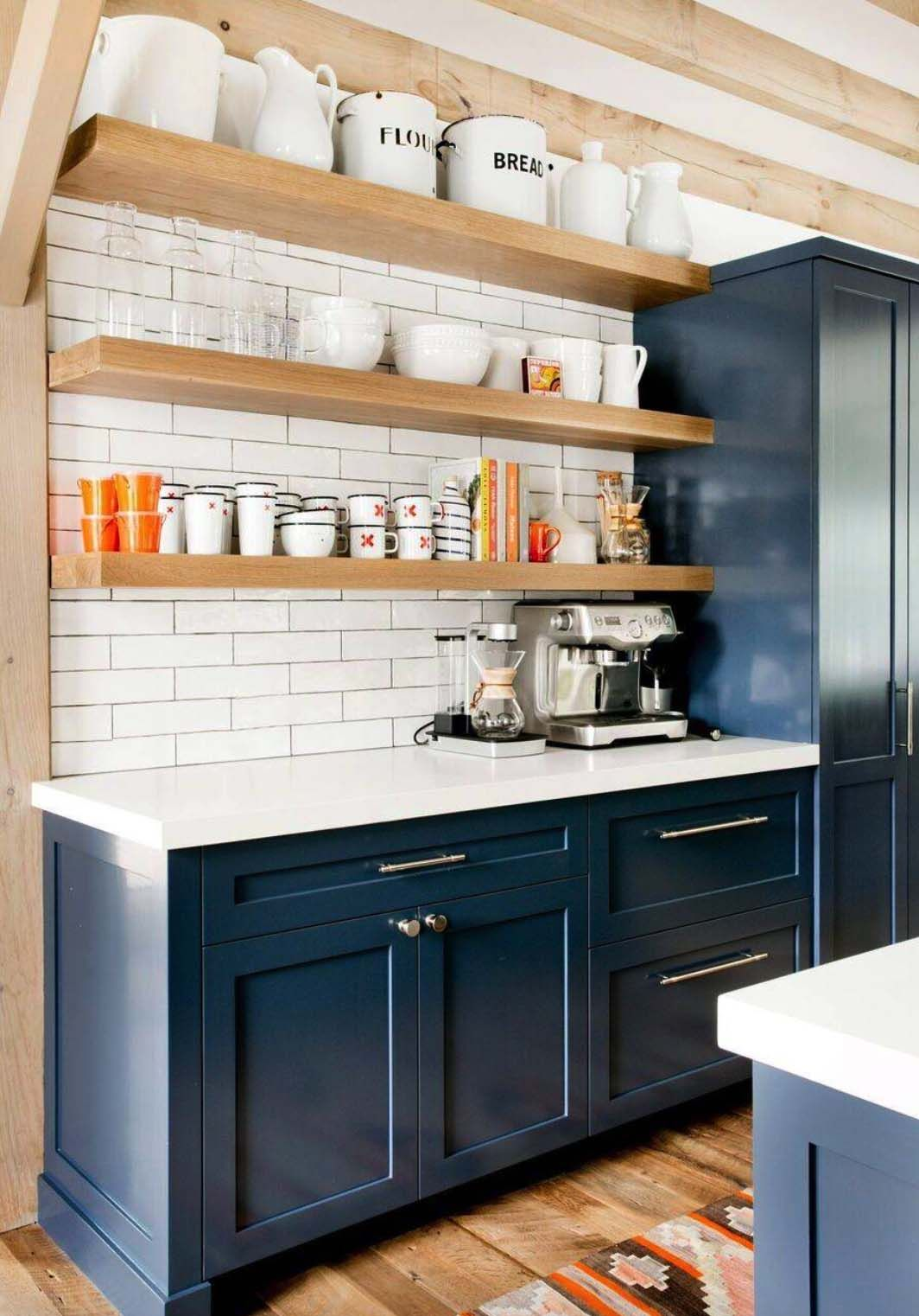 ultra chic farmhouse style dwelling in the village of sag on floating shelves kitchen id=97719