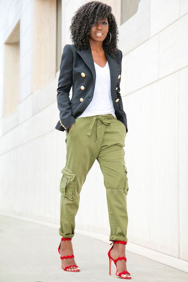 style pantry  double b blazer  vneck tee  relaxed