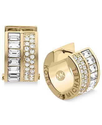 Michael Kors Earrings Gold Tone Crystal Baguette Huggie Hoop Fashion Jewelry Watches Macy S