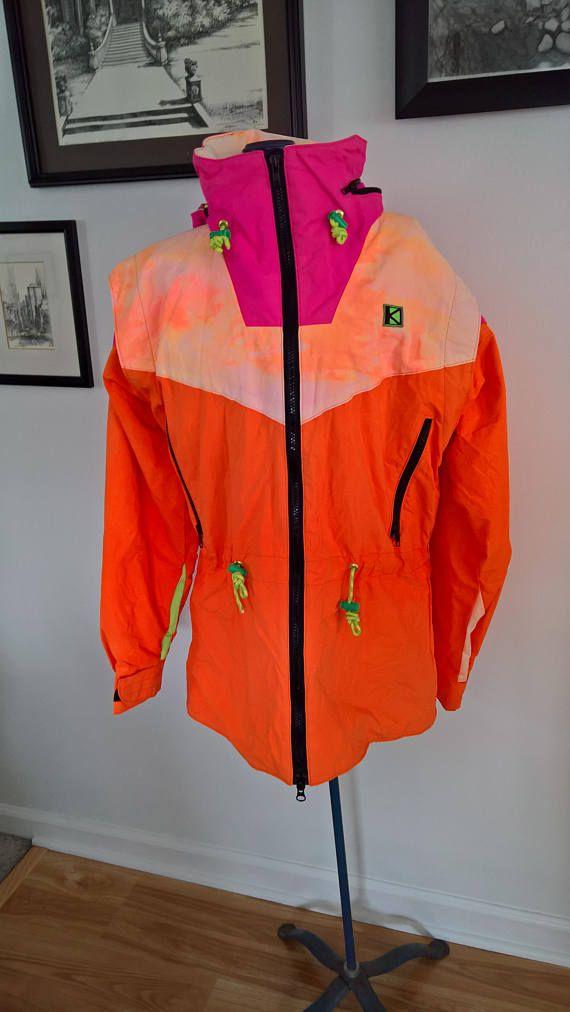 Vintage Kucera Designs Salt Lake/Hood River Gore-Tex WInter Jacket --- Retro 1980's 1990's Bright Neon Colorful Statement Ski Lodge Coat