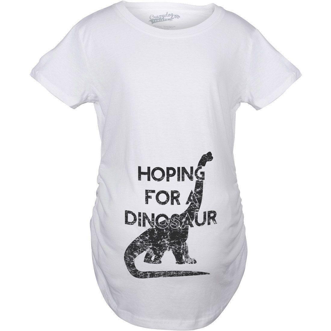 02de3511 Maternity Hoping For a Dinosaur T-shirt (XXL), Women's, White (printed)