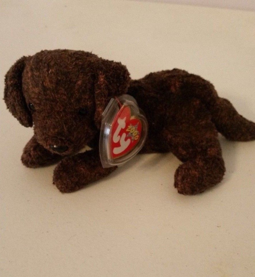 b45cecfaabc TY Beanie Baby 2000 Fetcher Dog Brown Black Tag + Protector  Ty ...