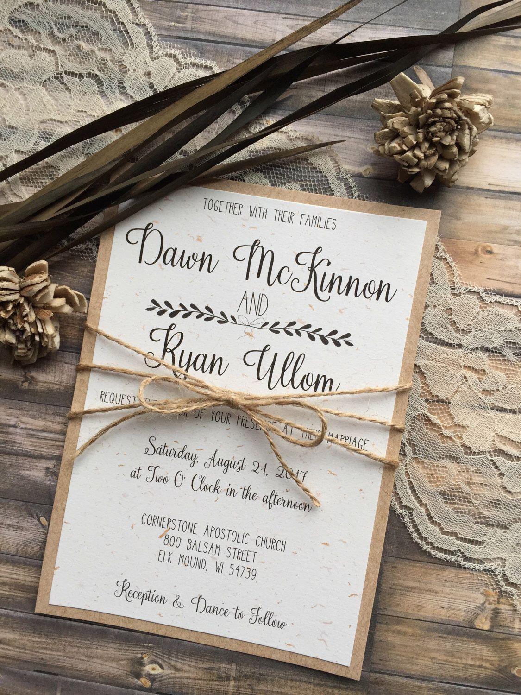 Rustic Wedding Invitation, Vintage Wedding Invitation, Elegant Wedding Invitations, Whimsical Wedding Invitations, Barn Wedding Invitation by DawnMarieCreations82 on Etsy https://www.etsy.com/listing/507695815/rustic-wedding-invitation-vintage