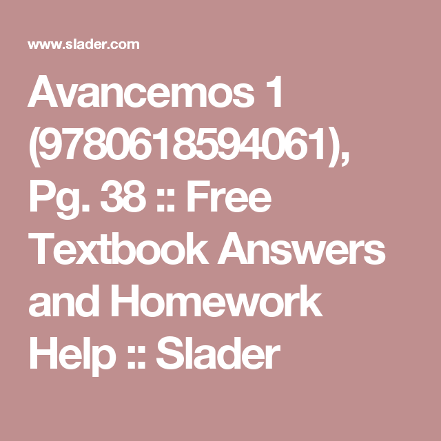Avancemos 1 (9780618594061), Pg  38 :: Free Textbook Answers