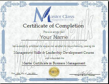 Business Management Certification Course - Certificate of Completion