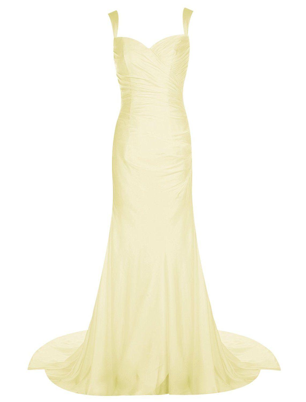 Vinvv formal sweetheart straps long mermaid wedding dress train