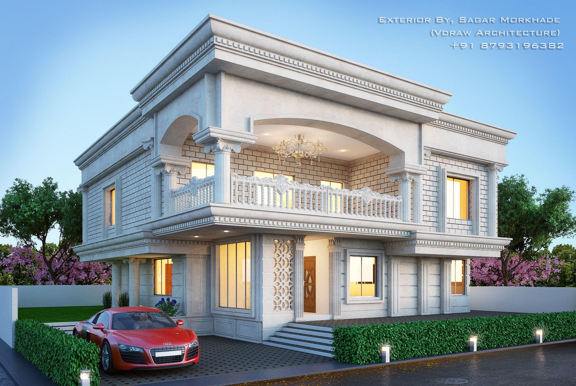 Modern Residential Villa Exterior By Sagar Morkhade