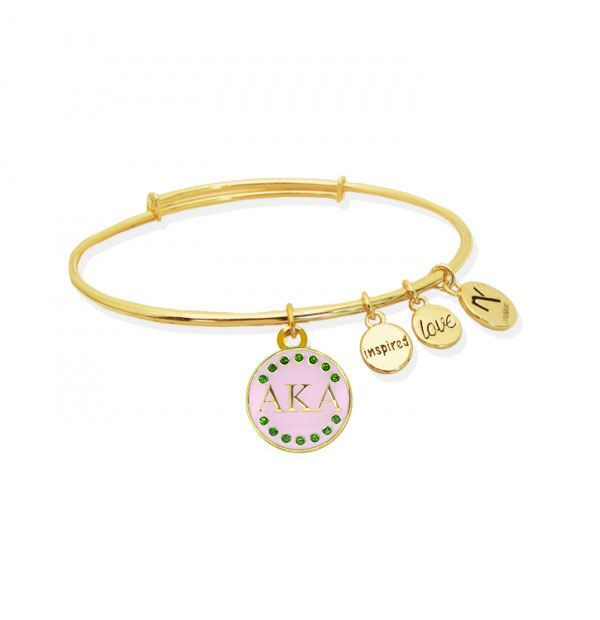 Pink Signature Alpha Kappa Alpha Inspired Love Bangle Gold Alpha