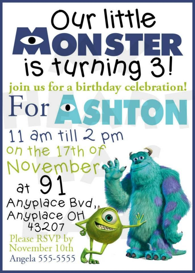 Monsters Inc Birthday CUSTOM digital invitation My Heart Has