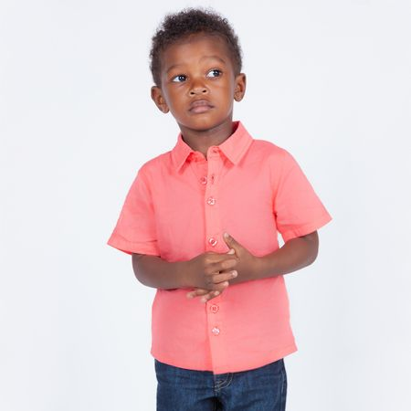 Hudson Short Sleeve Button Up Shirt in Coral Pink | Coral pink and ...