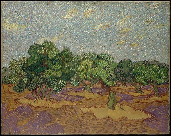 Olive Trees : Artist: Vincent van Gogh (Dutch, Zundert 1853–1890 Auvers-sur-Oise) Date: 1889 Medium: Oil on canvas Dimensions: 28 5/8 x 36 1/4 in. (72.7 x 92.1 cm) Classification: Paintings Credit Line: The Walter H. and Leonore Annenberg Collection, Gift of Walter H. and Leonore Annenberg, 1998, Bequest of Walter H. Annenberg, 2002 Accession Number: 1998.325.1